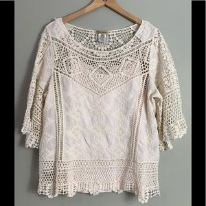 Democracy cream crochet top & camisole